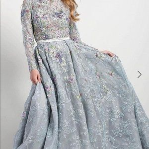 Jovani long sleeve multi floral lace gown